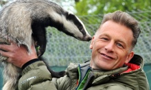 Chris Packham filming at Secret world with badgers