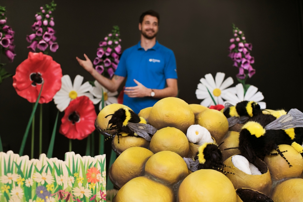 Andy Benson, Pollinating the Peak Education Officer, with B.E.E. models (small)